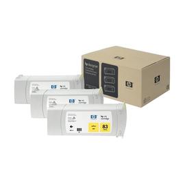HP 83 - 3er-Pack - Gelb - Original - Tintenpatrone - für DesignJet 5000ps uv, 5000uv, 5500, 5500 uv, 5500ps, 5500ps uv Produktbild
