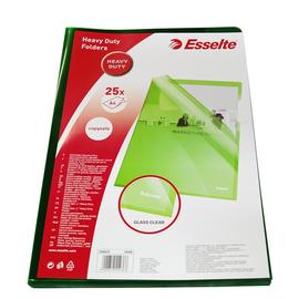 Sichthülle oben + rechts offen A4 150µ grün Hartfolie Esselte 55436 (PACK=25 STÜCK) Produktbild