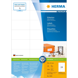 Aktion Etiketten PREMIUM Inkjet+Laser+ Kopier 70x37mm auf A4 Bögen weiß permanent Herma 4464 (PACK=2400 STÜCK) Produktbild