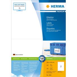 Aktion Etiketten PREMIUM Inkjet+Laser+ Kopier 210x148mm auf A4 Bögen weiß permanent Herma 4282 (PACK=200 STÜCK) Produktbild