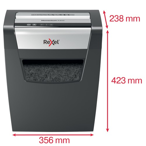 Aktenvernichter Momentum X410 für 10Blatt 4x28mm Partikelschnitt Rexel 2104571EU (Sicherheitsstufe P-4) Produktbild Additional View 3 L