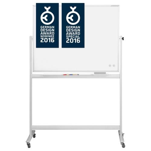 Mobile Stativ-Drehtafel Design CC 180x120cm weiß beidseitig emailliert Magnetoplan 1240690 Produktbild Front View L