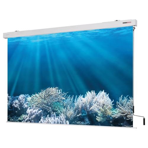 Leinwand Cineroll Kurbel 300x300cm Tuch mattweiß Magnetoplan 6201430 Produktbild Front View L