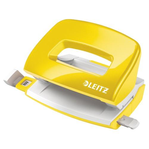 Locher Mini NeXXt 5060 WOW bis 10Blatt gelb metallic Metall Leitz 5060-10-16 Produktbild Front View L
