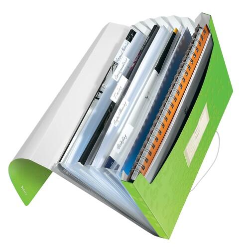 Projektmappe WOW mit Gummizug A4 mit 6 Fächern grün metallic PP Leitz 4589-00-54 Produktbild Front View L