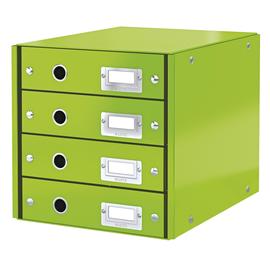 Schubladenbox Click&Store 4 Schübe 290x283x360mm metallic grün Hartpappe Leitz 6049-00-54 Produktbild