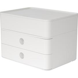 Schubladenbox Smart-Box Plus ALLISON 2 Schübe geschlossen und Utensilienbox 260x195x190mm snow white Han 1100-12 Produktbild