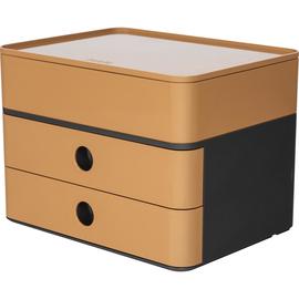 Schubladenbox Smart-Box Plus ALLISON 2 Schübe geschlossen und Utensilienbox 260x195x190mm caramel brown Han 1100-83 Produktbild