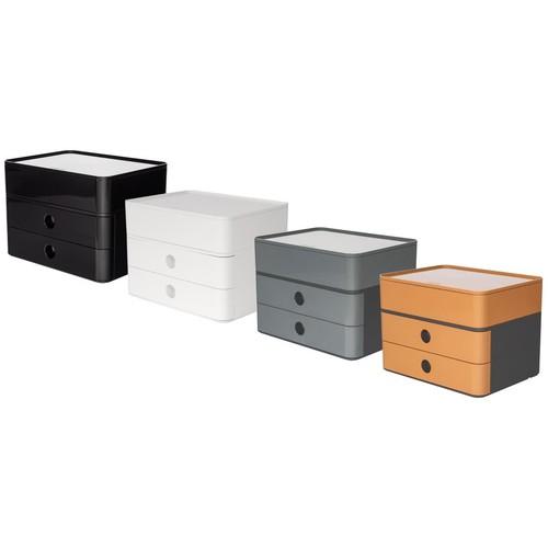 Schubladenbox Smart-Box Plus ALLISON 2 Schübe geschlossen und Utensilienbox 260x195x190mm caramel brown Han 1100-83 Produktbild Additional View 1 L