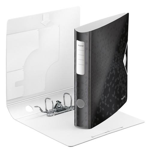 Ordner 180° Active WOW A4 60mm schwarz metallic Kunststoff Leitz 1107-00-95 Produktbild Front View L
