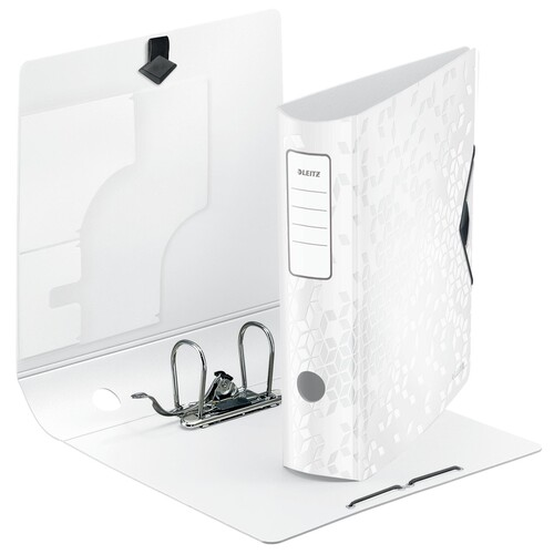 Ordner 180° Active WOW A4 80mm weiß metallic PP Leitz 1106-00-01 Produktbild Front View L