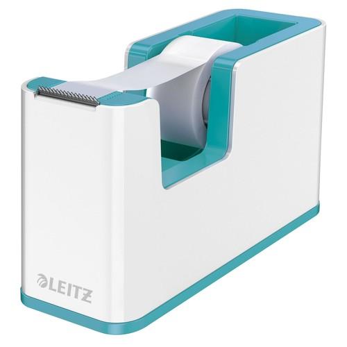 Tischabroller WOW Duo Colour befüllbar bis 19mm x 33m weiß/eisblau metallic Leitz 5364-10-51 Produktbild Front View L