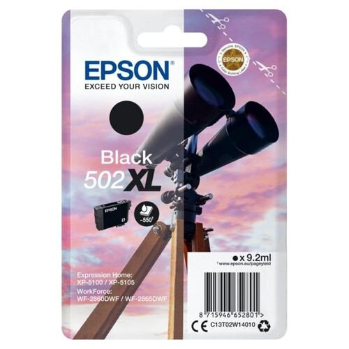 Tintenpatrone 502XL für Epson Expression Home XP-5100 9,2ml schwarz Epson T02W14010 Produktbild Front View L