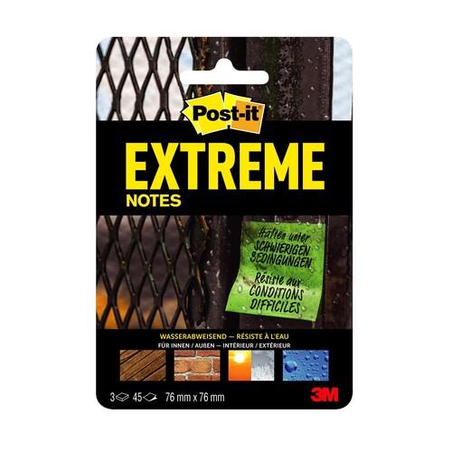 Haftnotizen Post-it Extreme Notes 76x76mm grün/gelb/orange Papier 3M EXT33M-3-FRGE (PACK=135 BLATT) Produktbild Front View L
