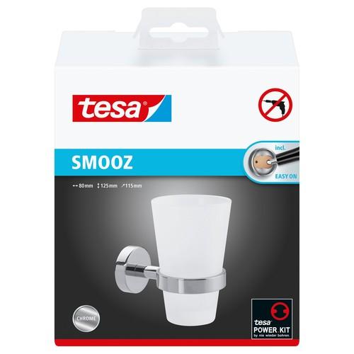 Zahnputzbecherhalter SMOOZ chrom / satinierter Glasbecher 11,5x8x12,5cm Tesa 40327-00000 Produktbild