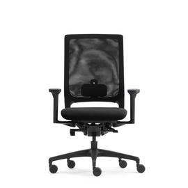 Drehstuhl Mera84 mit Armlehnen ohne Kopstütze mit Stricknetz Farbe 0484 schwarz Klöber Produktbild