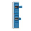 Postverteiler-Stahlschrank mit 10 Türen Korpus Lichtgrau Türen lichtblau 180x40x50cm Deskin 272557 Produktbild Additional View 1 S
