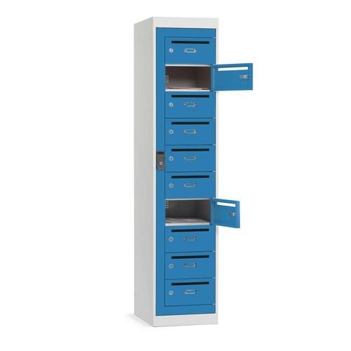 Postverteiler-Stahlschrank mit 10 Türen Korpus Lichtgrau Türen lichtblau 180x40x50cm Deskin 272557 Produktbild
