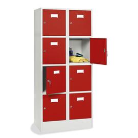 Schließfach-Stahlschrank SYSTEM SP1 Color Koprus lichtgrau Türen feuerrot 2x4 Fächer 185x60x50cm Deskin 282023 Produktbild