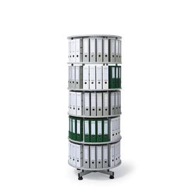 Ordnerdrehsäule 203cm 5 Etagenhöhen für Ordner Säule komplett drehbar lichtgrau Deskin 219519 Produktbild