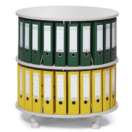 Ordnerdrehsäule 85cm 2 Etagenhöhen für Ordner Etagen einzeln drehbar lichtgrau Deskin 269955 Produktbild