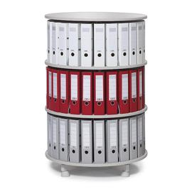 Ordnerdrehsäule 121cm 3 Etagenhöhen für Ordner Etagen einzeln drehbar lichtgrau Deskin 269956 Produktbild