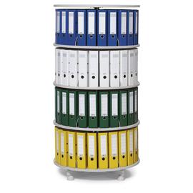 Ordnerdrehsäule 157cm 4 Etagenhöhen für Ordner Etagen einzeln drehbar lichtgrau Deskin 269957 Produktbild