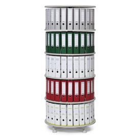 Ordnerdrehsäule 193cm 5 Etagenhöhen für Ordner Etagen einzeln drehbar lichtgrau Deskin 269958 Produktbild