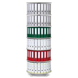 Ordnerdrehsäule 229cm 6 Etagenhöhen für Ordner Etagen einzeln drehbar lichtgrau Deskin 269959 Produktbild