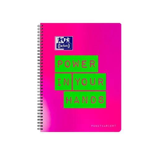 Collegeblock Oxford A4+ dotted Rand rechts+links 80 Blatt 90g Optik Paper weiß pink/grün 400130127 Produktbild
