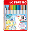 Fasermaler Pen 68 brush Metalletui 1,0mm Rundspitze sortiert Stabilo 568/15-32 (ETUI=15 STÜCK) Produktbild