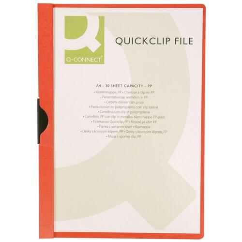 Klemmmappe A4 mit Metallclip bis 30 Blatt transparent/rot PVC BestStandard KF00461 Produktbild Front View L