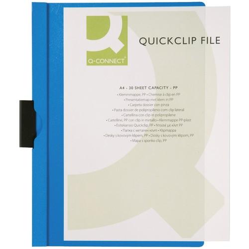 Klemmmappe A4 mit Metallclip bis 30 Blatt transparent/blau PVC BestStandard KF00462 Produktbild Front View L