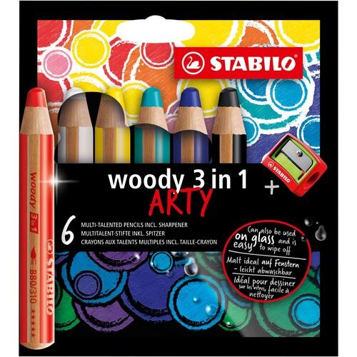 Multitalent-Stift woody 3 in 1 ARTY + Spitzer 10mm Mine sortiert Stabilo 8806-1-20 (ETUI=6 STÜCK) Produktbild