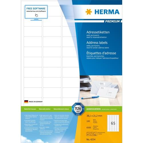 Adress-Etiketten PREMIUM Inkjet+ Laser+Kopier 38,1x21,2mm auf A4 Bögen weiß permanent Herma 4254 (PACK=6500 STÜCK) Produktbild Additional View 1 L