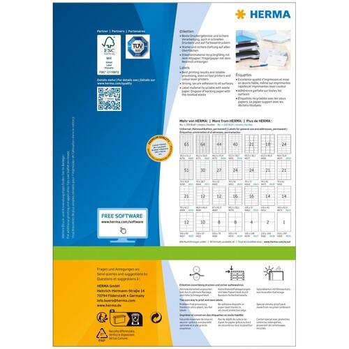 Adress-Etiketten PREMIUM Inkjet+ Laser+Kopier 38,1x21,2mm auf A4 Bögen weiß permanent Herma 4254 (PACK=6500 STÜCK) Produktbild Additional View 3 L