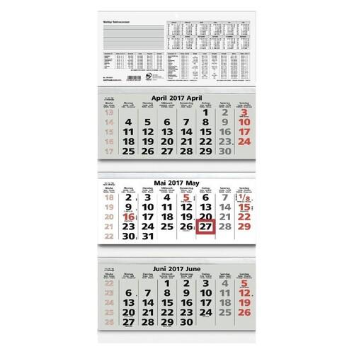 Dreimonatskalender 2021 32x70cm schwarz/rot Zettler 953-0011 Produktbild