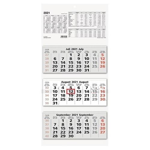 Dreimonatskalender 2021 32x70cm schwarz/rot Zettler 953-0011 Produktbild Additional View 1 L
