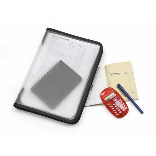 Reißverschlusstasche A4 schwarz/ transluzent PP Foldersys 40452-30 Produktbild Additional View 1 L