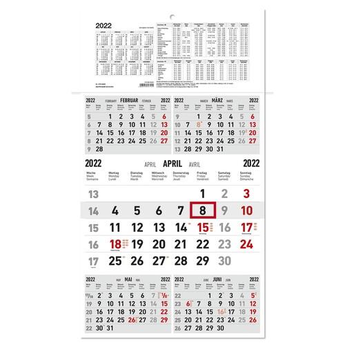 Fünfmonatskalender 2022 33x65cm schwarz/rot Karton Zettler 970-0000 Produktbild Front View L