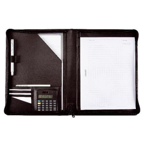 Schreibmappe mit Reißverschluß CATANA A4 schwarz Lederimitat Alassio 30056 Produktbild Front View L