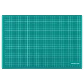 Schneidematte 60x45cm grün/schwarz mit weißer Rastereinteilung Transotype 17503 Produktbild