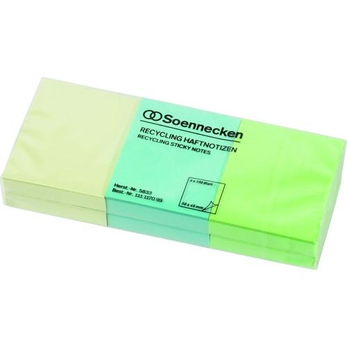 Haftnotizen 50x40mm Recycling Notes farbig sortiert Papier BestStandard (PACK=6x 100 BLATT) Produktbild Front View L