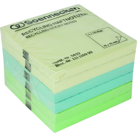 Haftnotizen 75x75mm Recycling Notes farbig sortiert Papier BestStandard (PACK=6x 100 BLATT) Produktbild