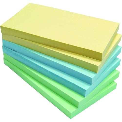 Haftnotizen Z-Notes 125x75mm Recycling Notes Z-Faltung farbig sortiert Papier BestStandard (PACK=6x 100 BLATT) Produktbild Front View L