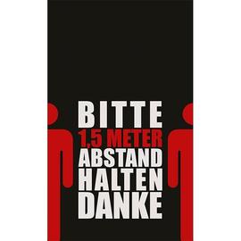 Hinweismatte -Bitte 1,5m Abstand halten- 90x150cm schwarz/rot 62101 Produktbild