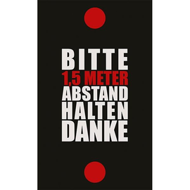 Hinweismatte -Bitte 1,5m Abstand halten- 90x150cm schwarz/rot 62102 Produktbild