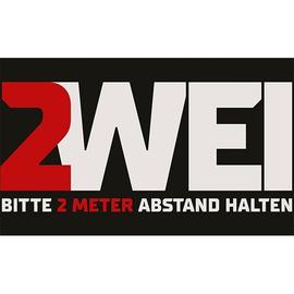 Hinweismatte -Bitte 2,0m Abstand halten- 90x150cm schwarz/rot 62103 Produktbild