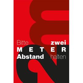 Hinweismatte -Bitte 2,0m Abstand halten- 120x180cm schwarz/rot 62202 Produktbild