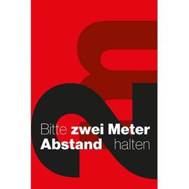 Hinweismatte -Bitte 2,0m Abstand halten- 120x180cm schwarz/rot 62203 Produktbild